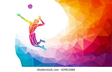 Creative silhouette of volleyball player. Team sport vector illustration or banner template in trendy abstract colorful polygon style with rainbow back