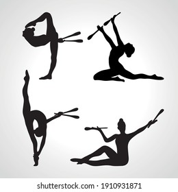 Creative silhouettes of 4 gymnastic girl with clubs. Art gymnastics or ballet dancing women, vector illustration