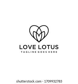 Creative simple Artistic Lotus Flower with love sign logo design illustration