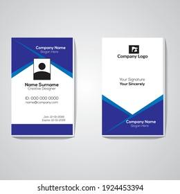 Creative Simple blue  Black Id Card Design Vector Template