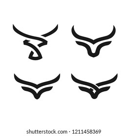 creative and simple bulls horn logo vector