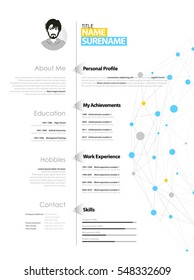 Creative simple cv template with blue and grey circles and dots on web.