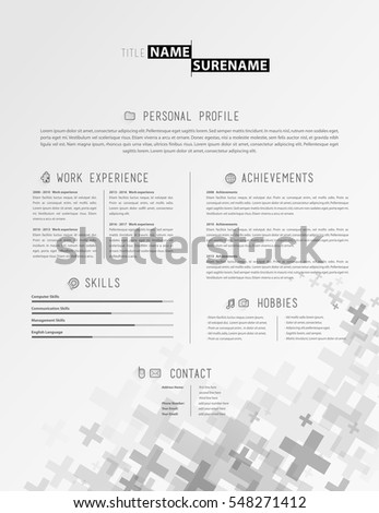 creative simple cv template grey plus stock vector royalty free