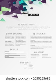 Creative simple cv template with triangle shapes  in footer.