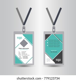 Creative Simple Green & Black Id Card Design Vector Template, staff id card, vector design and text template illustration