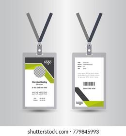 Creative Simple Id Card Design Vector Template, staff id card, vector design and text template illustration