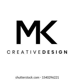 Creative simple letter MK logo design vector