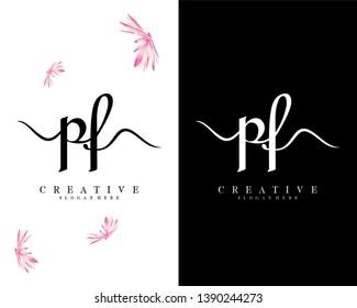 creative simple pf/fp letter logo template vector