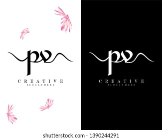 creative simple pv/vp letter logo template vector