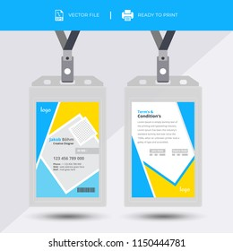 Creative Simple Yellow & Black Id Card Design Vector Template