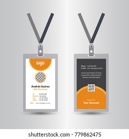 Creative Simple Yellow & Black Id Card Design Vector Template, staff id card, vector design and text template illustration