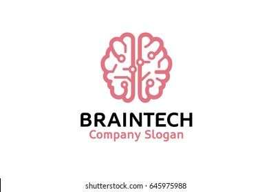 Creative Smart Brain Tech Logo Design Illustration