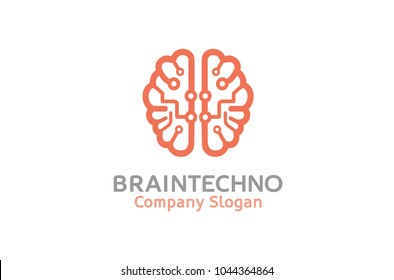 Creative Smart Brain Technology Logo Design Illustration