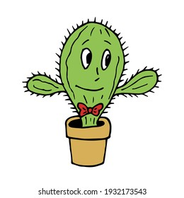 Creative smiling cactus on white background. Doodle style. Vector image.