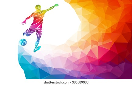Creative soccer player. Football player kicks the ball, colorful vector illustration with background or banner template in trendy abstract pectrum polygon style and rainbow back