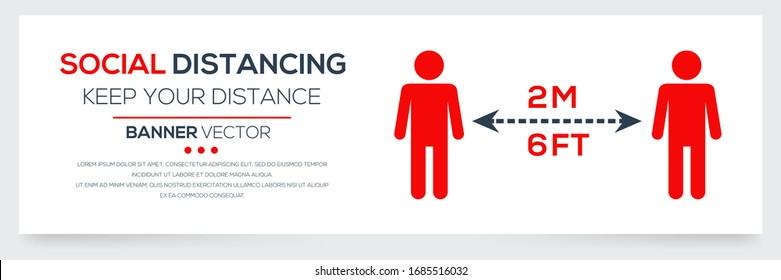 Kreativ (soziales Distanzieren - halten Sie Ihre Distanz) Banner-Wort mit Symbolen, Vektorillustration-Illustration.