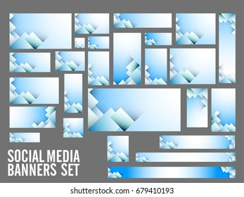 Creative Social Media Header or Banners set with abstract design in sky blue and white color tone.