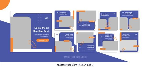 Creative social media post template collection memphis