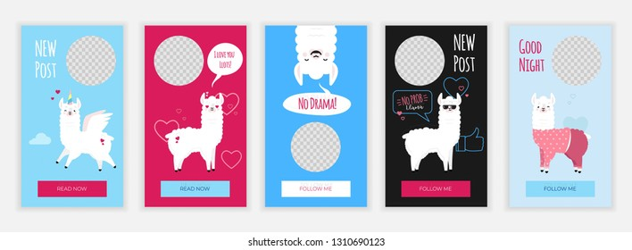 Creative social media stories design template with cute funny llamas illustrations. Cute banner set. Web templates for online networks for shop, blog and personal use. App screens with kawaii mascots