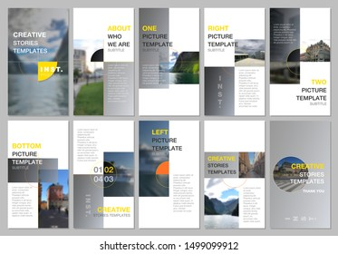 Creative social networks stories design, vertical banner or flyer templates with colorful gray gradient backgrounds. Covers design templates for flyer, leaflet, brochure, presentation, advertising.