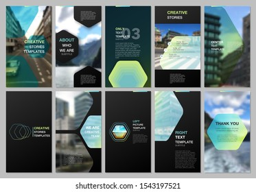 Creative social networks stories design, vertical banner or flyer templates with hexagonal design green color pattern background. Covers design templates for flyer, leaflet, brochure, presentation.