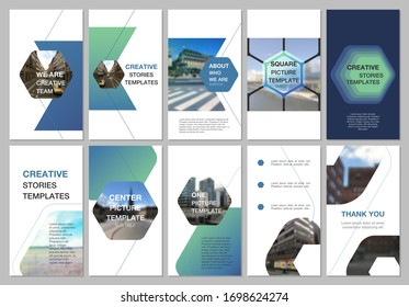 Creative social networks stories design, vertical banner or flyer templates with hexagonal design background, hexagon style pattern. Covers design templates for flyer, leaflet, brochure, presentation.