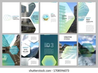 Creative social networks stories design, vertical banner or flyer templates with hexagonal design green color pattern background. Covers design templates for flyer, leaflet, brochure, presentation.