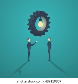 Creative solution business concept with two businessman and gear with lightbulb. Eps10 vector illustration.