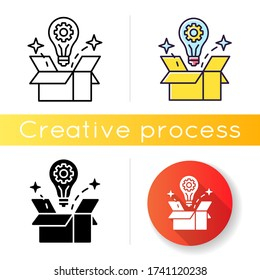 Creative solution icon. Idea generation. Smart innovative thought. Solution for project. Solve logical problem. Light bulb in box. Linear black and RGB color styles. Isolated vector illustrations