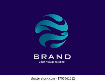 creative sphere color abstract concept for global business company logo