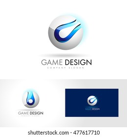 Creative Sphere Logo Design Vector. Blue Silver 3D Sphere Sphere Vector Gaming Logo