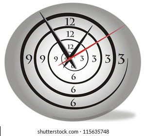 Creative spiral clock gray black and red. Three hands. Vector.