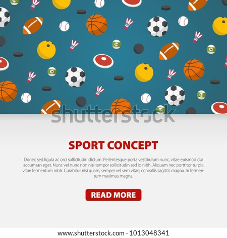 Creative sport games concept. Sports balls and equipment. Flat Style Vector Illustration.