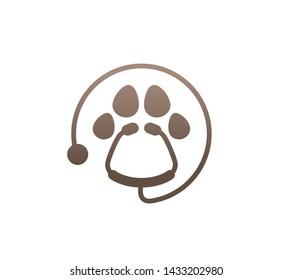 Creative Stethoscope Circle Paw Logo Design Vector Symbol Illustration