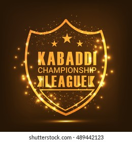 Creative sticker or label design on shiny golden background for kabaddi Championship League.