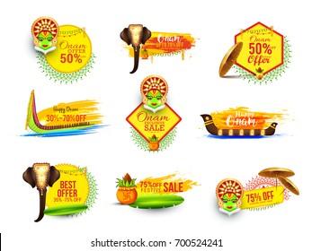 Creative sticker or label for festival of onam celebration,big onam sale or offers background.