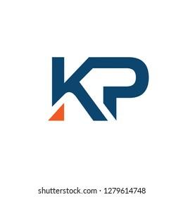 creative strong initial letter kp, pk logo vector concept
