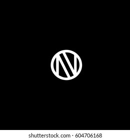 Creative stylish fashion and sport brand circular shape elegant black and white color N initial based letter icon logo