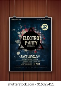 Creative stylish hanging flyer, banner or template on wooden background for Electro Party celebration.