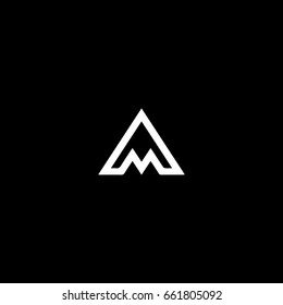 Creative stylish modern trendy connected mountain shaped artistic black and white color AM MA A M initial based letter icon logo.