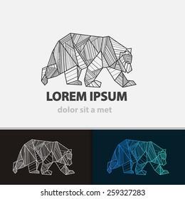 Creative stylized icon bear. Vector logo idea ferocious beast. Triangle shape with lines.