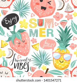 Creative summer collage. Seamless pattern with cute pineapple, peach, strawberry, dragon fruit characters with kawaii face. Texture for textile, postcard, wrapping paper, packaging etc. Vector.