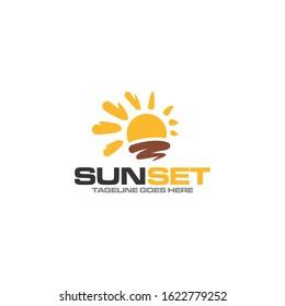 Creative sun set concept vector logo design
