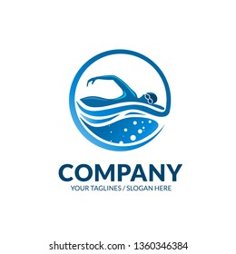 creative swimming club sport logo vector concept