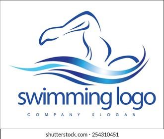 Creative Swimming Logo Design. Swimmer logo design. Creative swim icon logo idea.