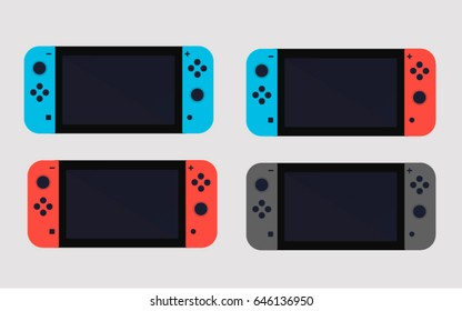 Creative switch button console illustration. Flat set vector icon.