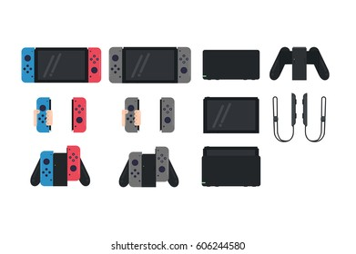 Creative switch console set illustration. Flat style icon collection. Nintendo video game.