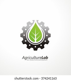 Creative symbol concept with gear, green leaf and subtly shape of lab flask in negative space. Modern agricultural technology logo design template. Icon idea for farming and food production theme.