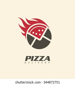 Creative symbol concept for pizza delivery.  Logo inspiration for pizzeria or restaurant. Fast food promotional business icon template.