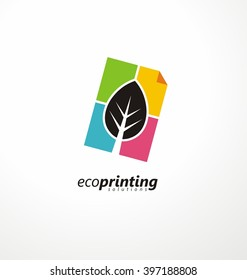 Creative symbol concept for printing office. Document icon and leaf colorful layout. Logo design idea for offset print.